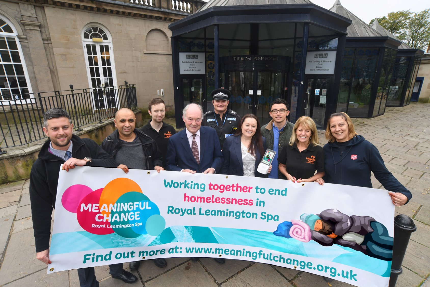 Pictured at the launch of Meaningful Change Leamington outside the Visitor Information Centre are, from left to right, Jon Barnett (Warwick District Council), Ayyaz Ahmed (Warwick District Council), Chris Higgins (Helping Hands), Philip Seccombe (Warwickshire Police and Crime Commissioner), Sgt Trent McMurray (Warwickshire Police), Stephanie Kerr (BID Leamington), Aaron Greaves (Heart of England Community Foundation), Sue Verne (Helping Hands), Ljupka Stojanovska (The Salvation Army).